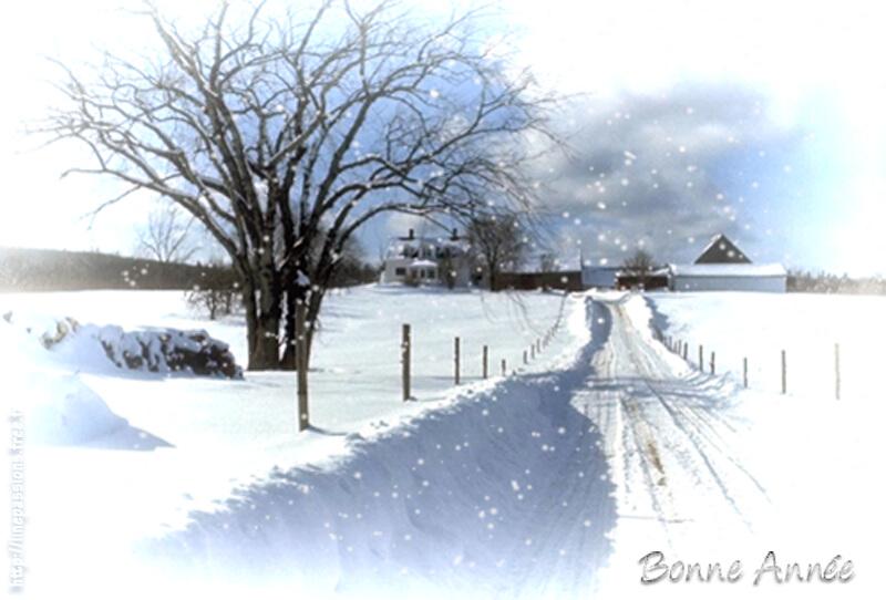 Carte de noel sous la neige
